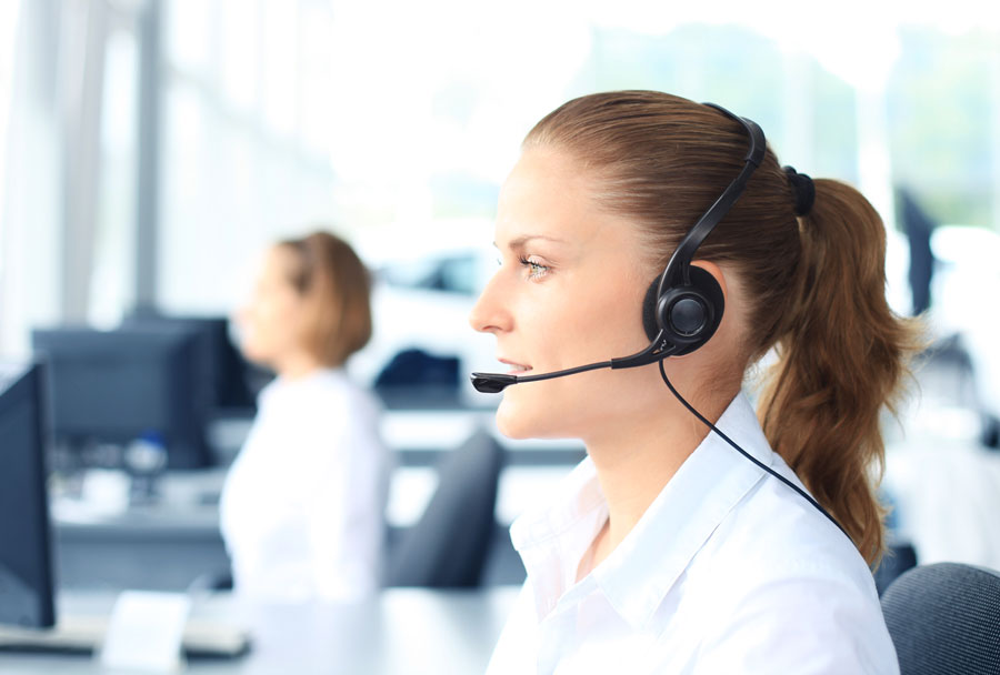 phone operators on modern headsets